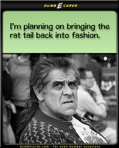 I Be Stylin' - rat tail, rattail, hair style, fashion, bad, awfulfree e cards, humorous jokes, sense humor, greeting cards birthday, electronic card,