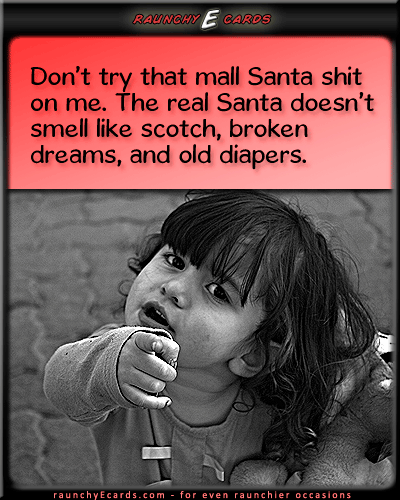 Sad Santa - mall santa, real life, kids, skepticalonline greeting cards, ecards for free, dumb ecards, online birthday cards, ecard for birthday,