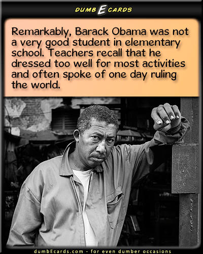 Obama As A Boy - Obama, school, poor studentecards humorous, birthday card greetings, free e cards, humor, r-rated ecards,